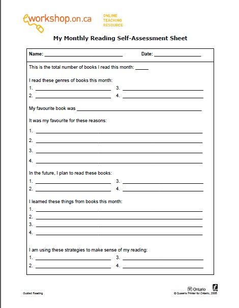 e-Workshop My Monthly Reading Self-Assessment Sheet Assessment - monthly pay slip