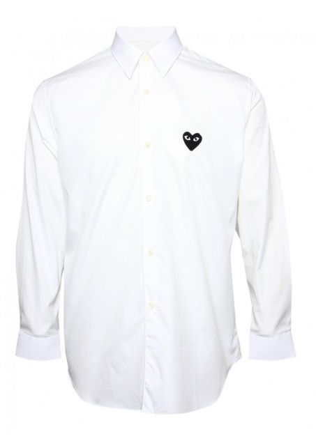 62516b298ea4 Comme Des Garcons PLAY Menswear Online | PLAY Mens Black Heart Classic  Shirt White | Buy Comme Des Garcons PLAY Online at Hervia