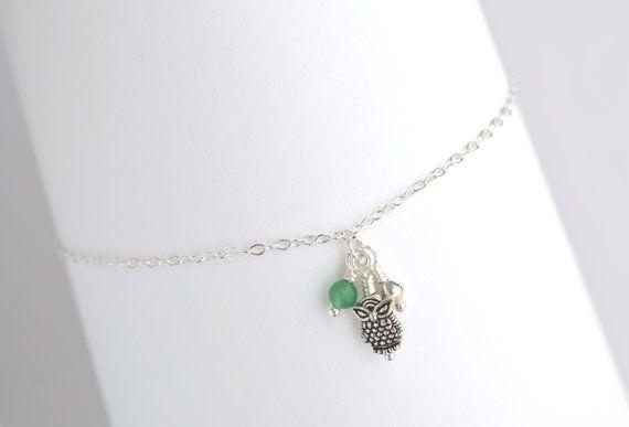 Silver Owl Anklet Ankle Bracelet Charm