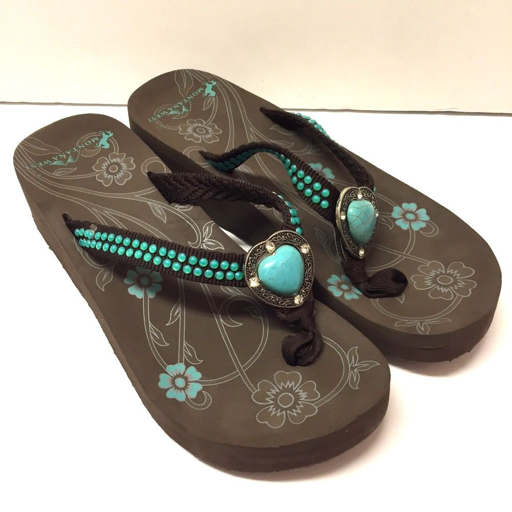 6d2c9f379 Montana West Western Rhinestone Turquoise Flip Flops Sandals Shoes Size 9   MontanaWest  FlipFlops
