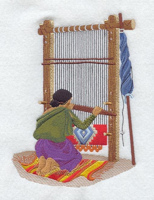 An Embroidery Of A Navajo Loom