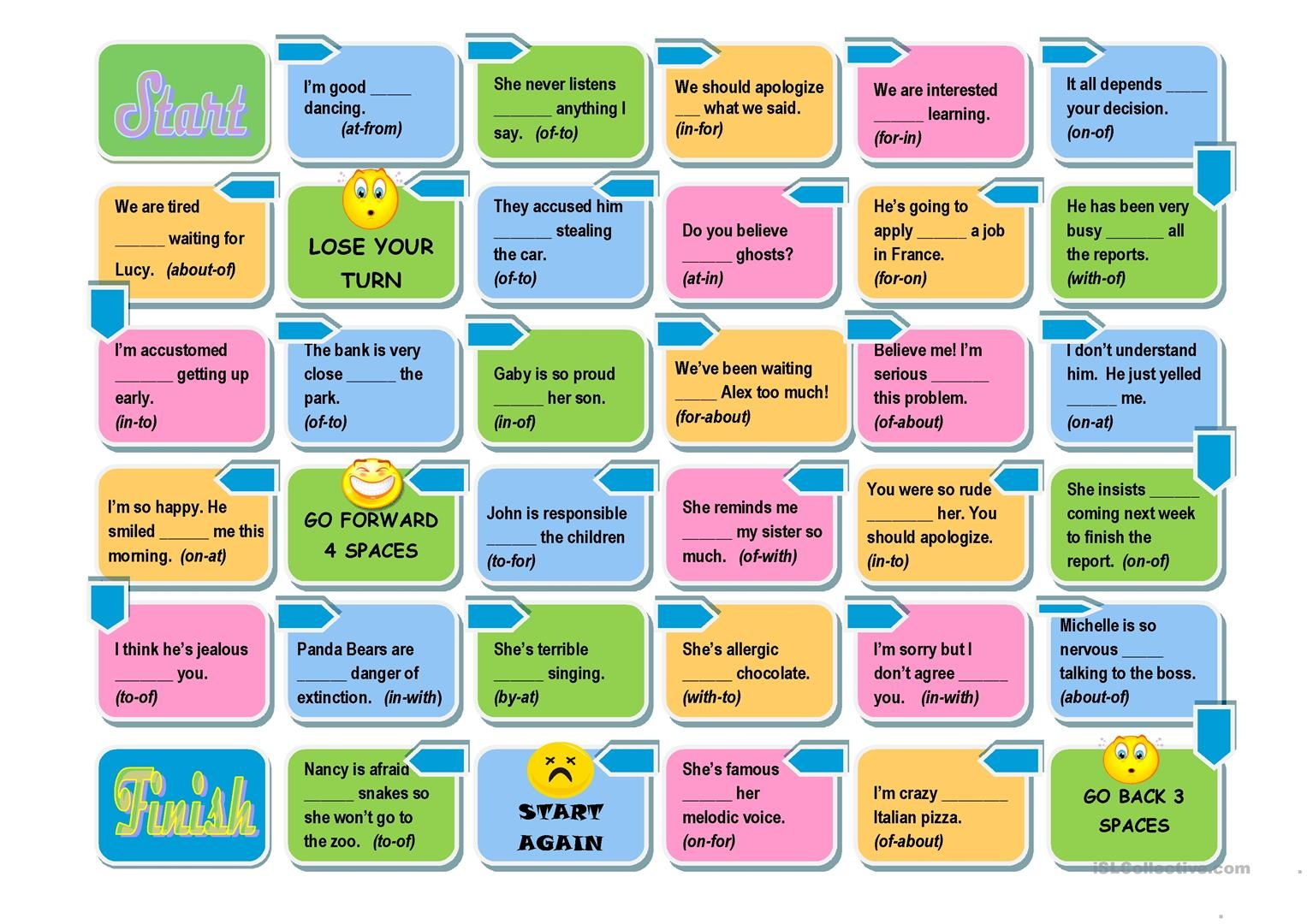Prepositions Board Game Easy And Advanced Versions