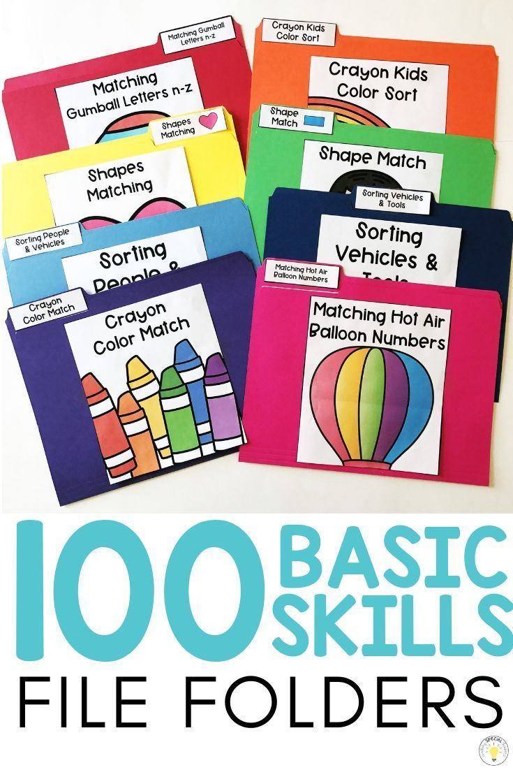 Need ideas to work on basic concepts for your toddler, preschooler, or special education / speech therapy student? These basic skill file folders are great for kids who need something they can do on their own at their independent work station. They work on pre-academic foundational learning skills such as matching, letters, numbers, colors, shapes, categories, and sorting and can help teachers make learning fun! 8 FREE printable errorless folders! #FileFolders #FreePrintable