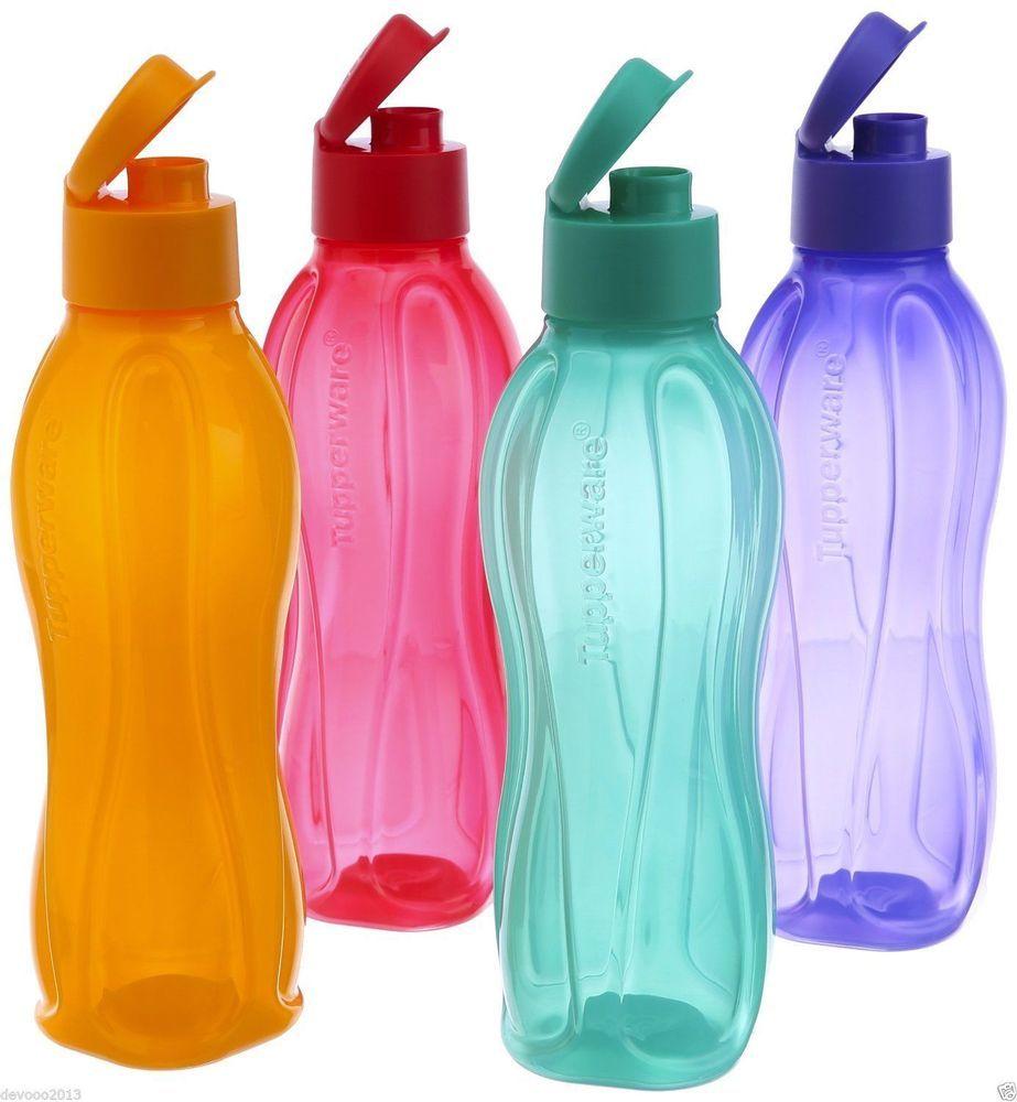 Tupperware Aquasafe Water Bottle Set of 4, Eco Sports Flip Top ...
