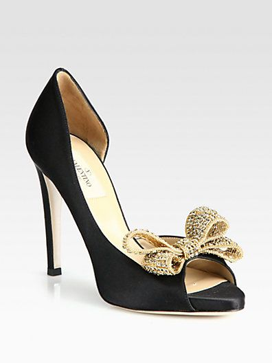 Satin Jeweled Bow d'Orsay Platform Pumps by Valentino