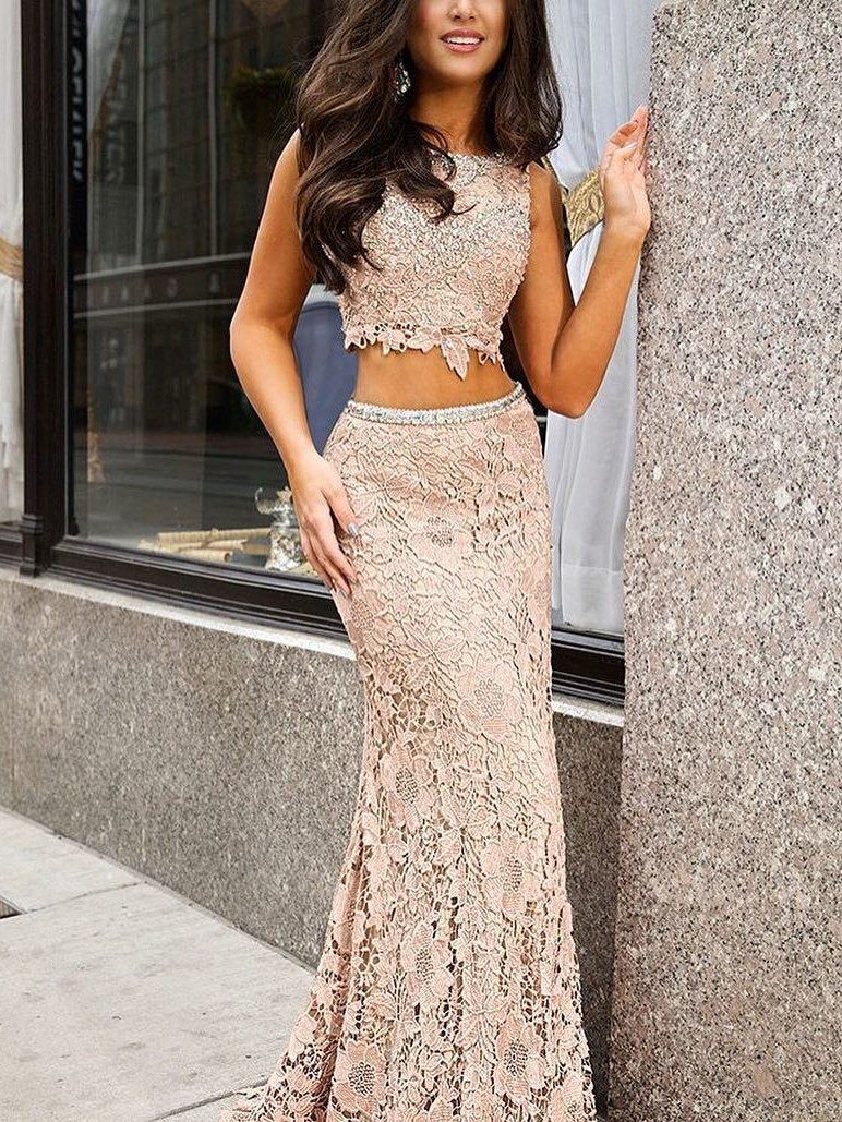 Two piece prom dresses short train sequins long sexy lace prom dress