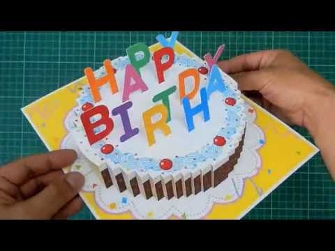 Youtube Birthday Cake Card Pop Up Card Templates Birthday Cake Pops