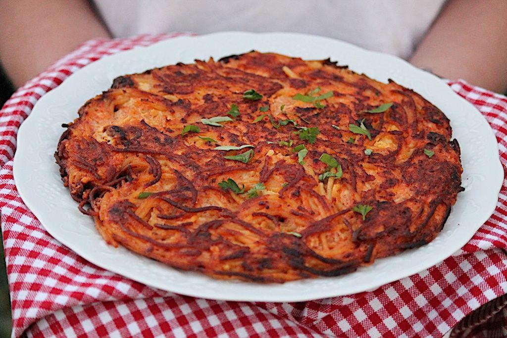 Leftover Spaghetti Pizza The Fountain Avenue Kitchen Recipe Leftover Spaghetti Spaghetti Pizza Leftover Pasta