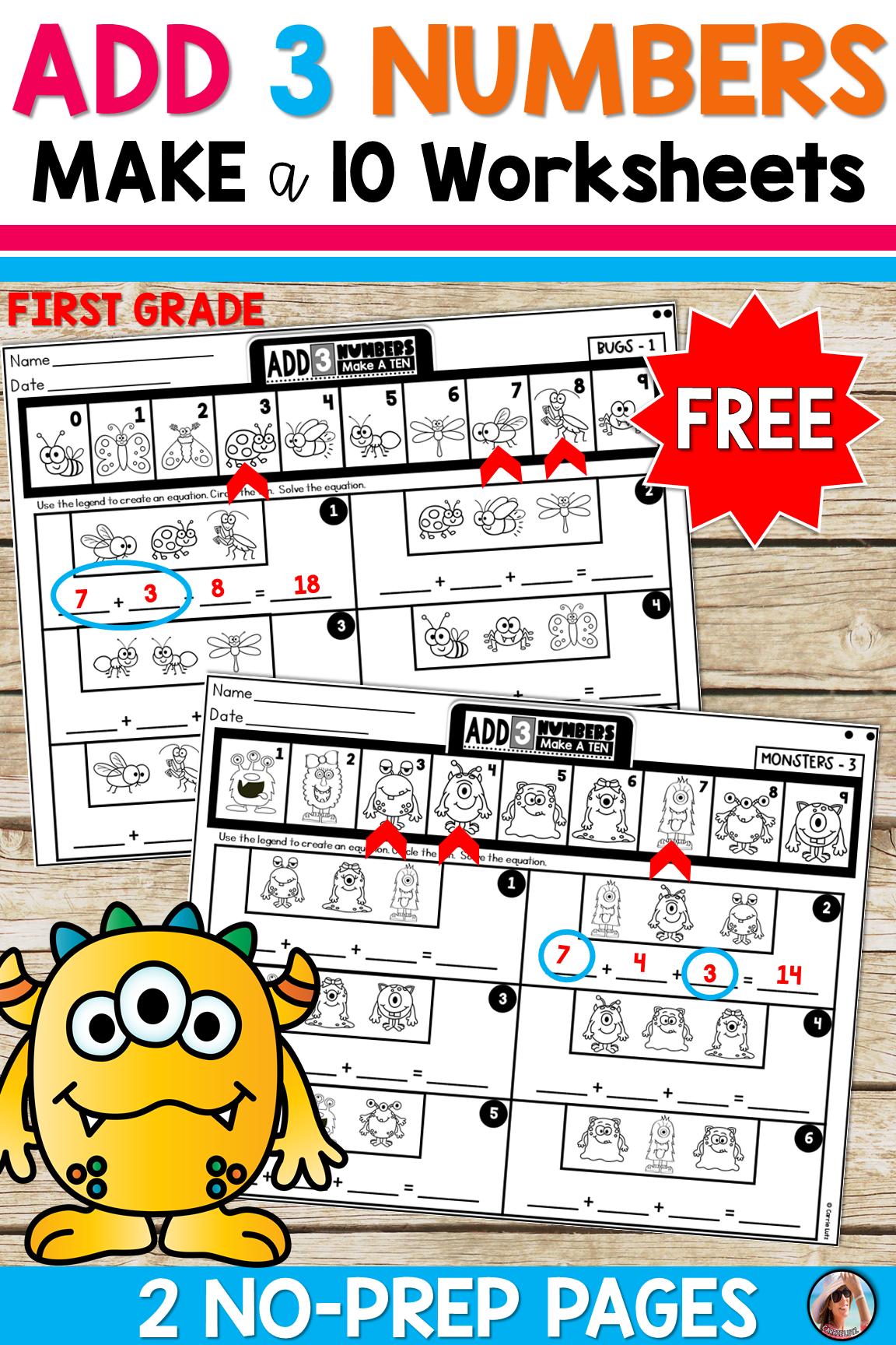 Friends Of Ten Adding 3 Numbers Free Distance Learning First Grade Homework First Grade Math Busy Teacher [ 1728 x 1152 Pixel ]