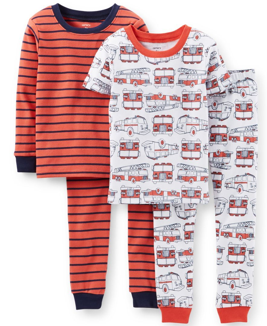 505e0bb603 Carter s Little Boys  4-Piece Fire Truck Pajamas