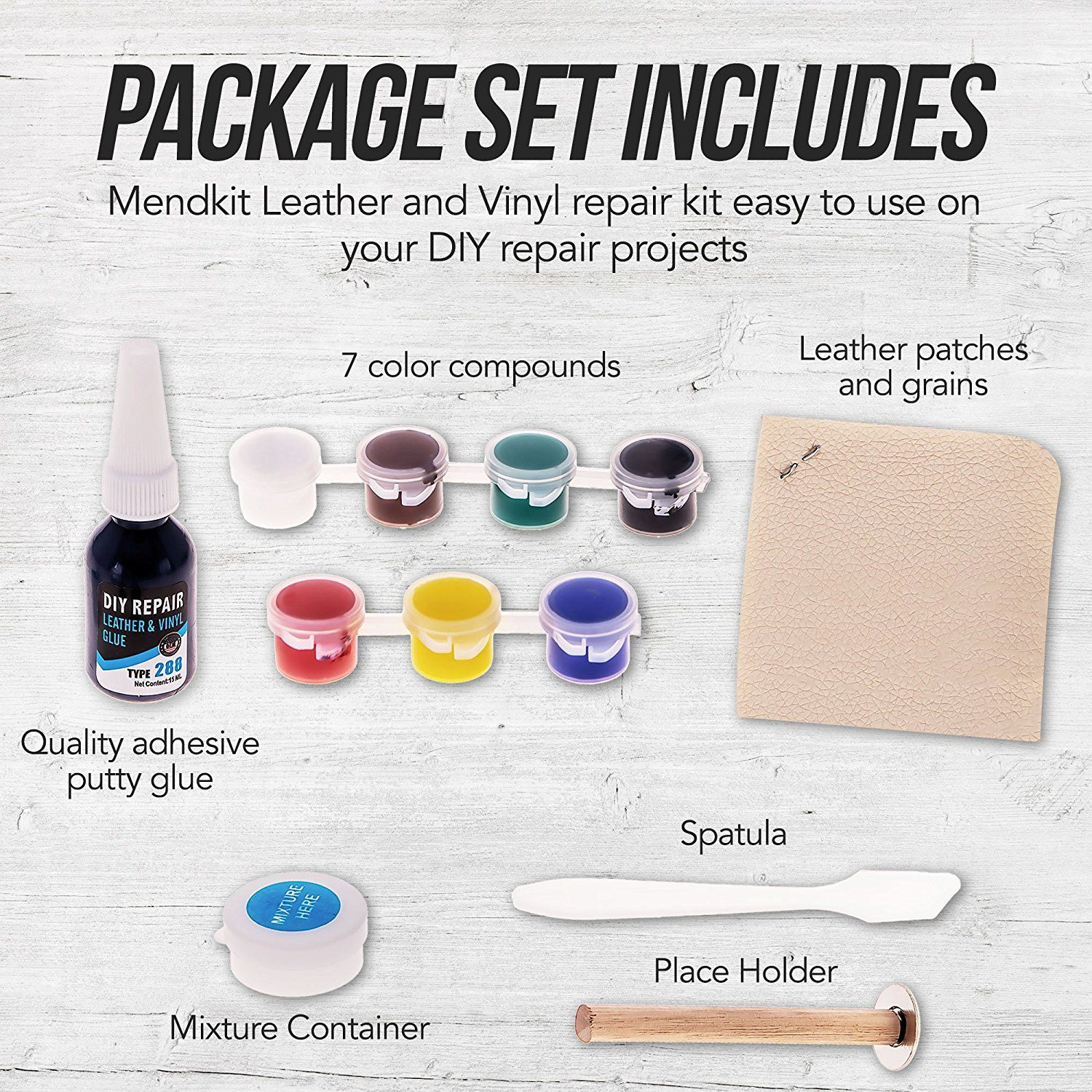Amazon Com Mendkit Leather And Vinyl Repair Kit Adhesive Putty Filler Glue Patch Fabric And Tools Restorer Vinyl Repair Adhesive Putty Best Leather Sofa