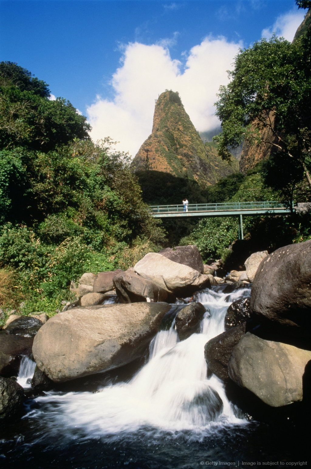 Maui iao valley state park stream below iao needle with