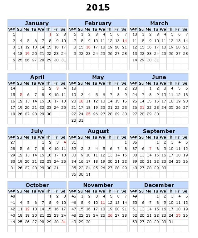 Image For 2015 Calendar With Week Numbers With Images Calendar