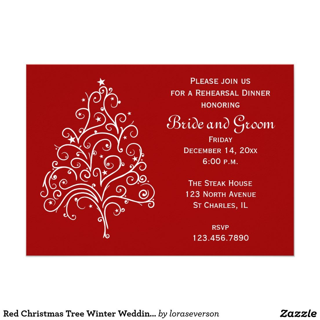 Red Christmas Tree Winter Wedding Rehearsal Dinner Card | Red christmas