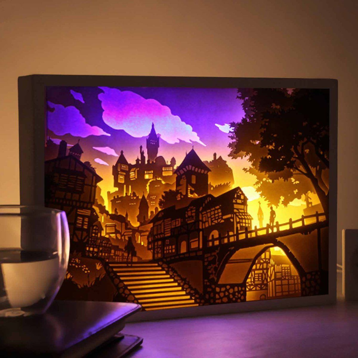 Features Of Product The Light Is Softer And Prettier Than General Night Light Brightness Adjustable Timing Function Shadow Box Art 3d Paper Art Paper Crafts