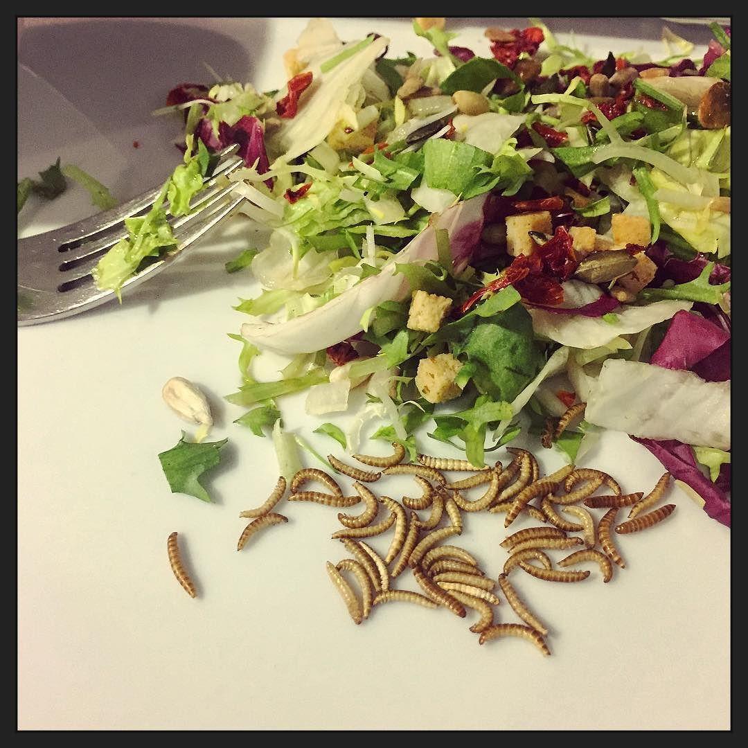 Meelwormen bij de lunch (gedroogd...). Smaakt eigenlijk nergens naar... ;-) #eten #foodporn #mview