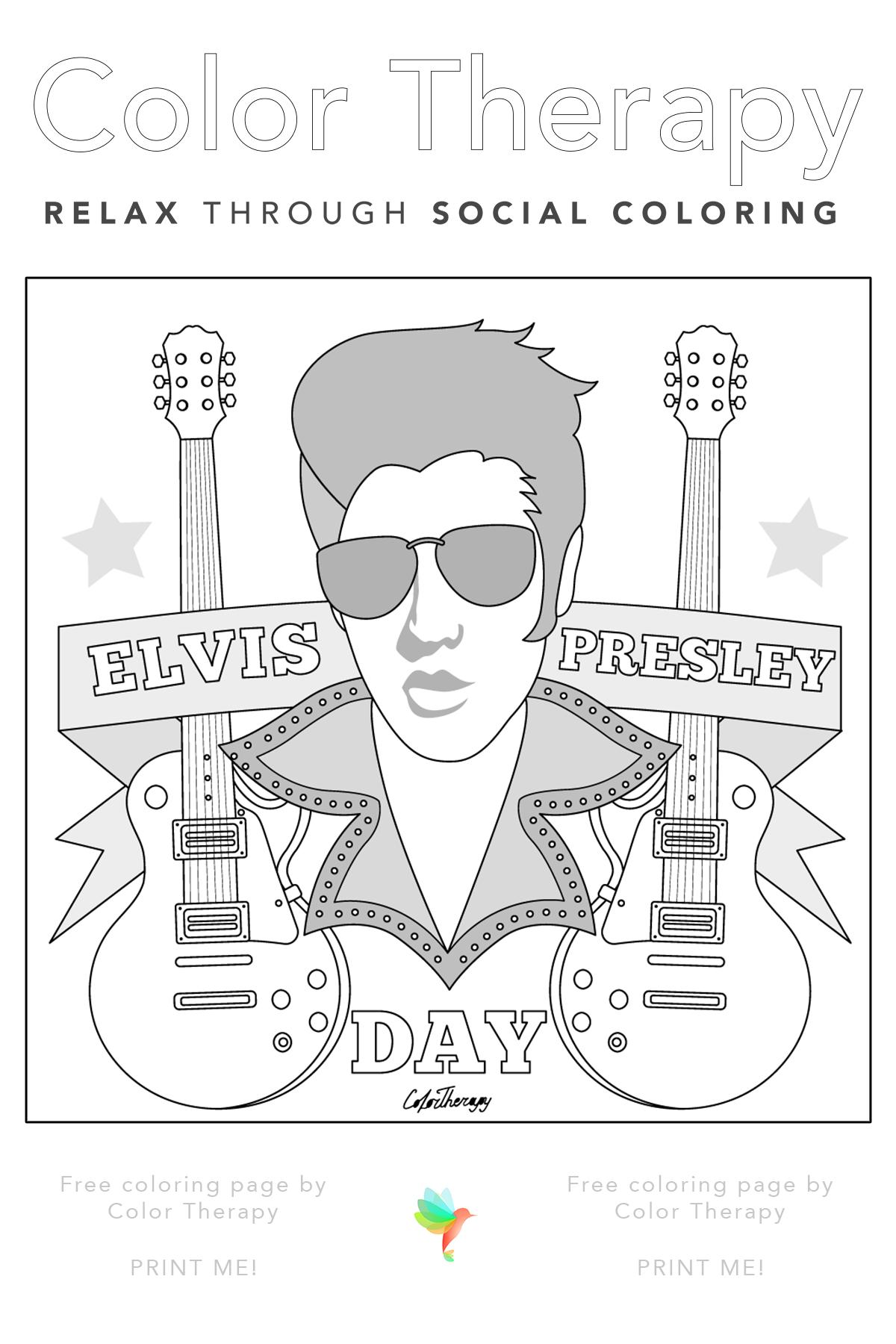 Elvis Presley Coloring Pages : elvis, presley, coloring, pages, Color, Therapy, Coloring, Pages,, Books