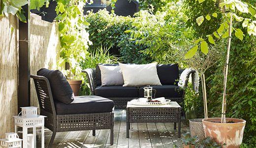 KUNGSHOLMEN / HÅLLÖ 2er-Sofa/außen, schwarzbraun, beige