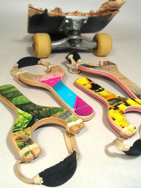 Skateboard Slingshots Boys Are Always In Love With Slingshots What S Better Gifts For Them Than Th Recycled Skateboards Skateboard Furniture Skateboard Decor