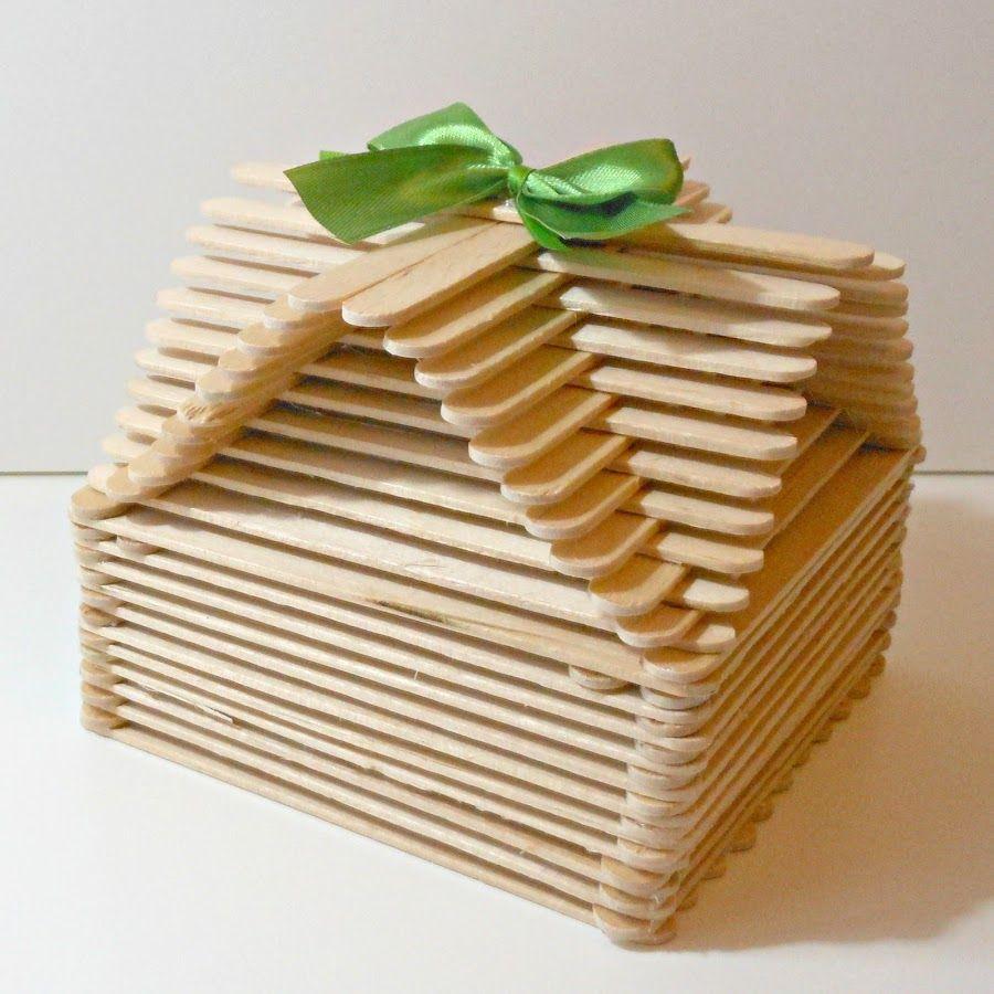 Caja original con palitos de helado | Craft stick crafts, Popcycle stick  crafts, Pop stick craft