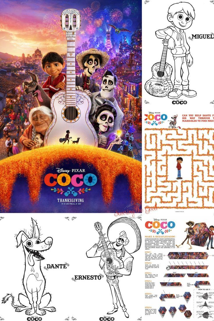 Disney Pixar Coco Coloring And Activity Sheets. Free Download. A ...