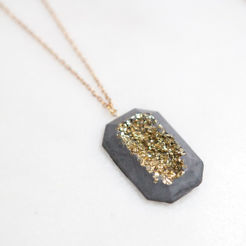 Concrete Druzy Polygon Necklace Gold