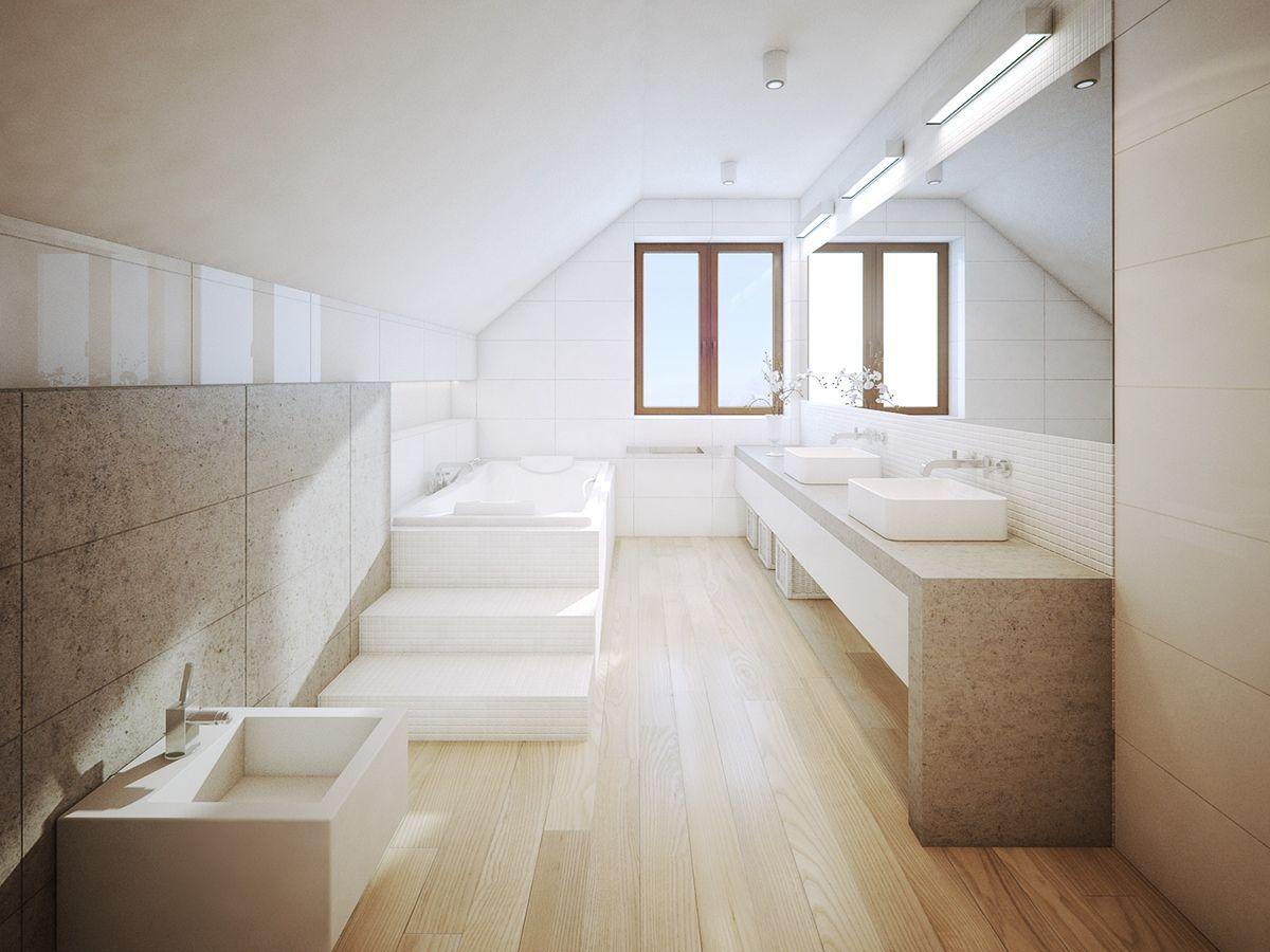 Moderne Badezimmer-Design-Ideen, die einen hölzernen Akzent als ...