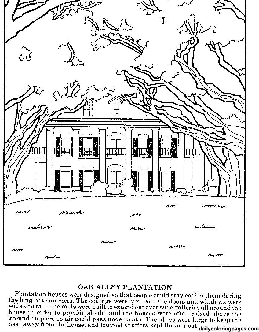Hard coloring pages for adults louisiana plantations difficult