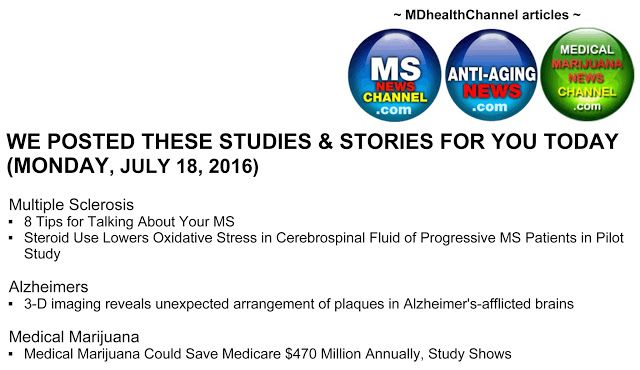 My book and MD Health Channel's MS/Alzheimer's/Medical Marijuana posts: Today (Monday) Multiple Sclerosis/Alzheimer's/Medi...