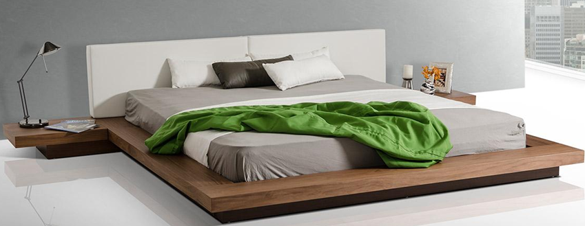 Opal Modern Low Profile Platform Bed Japanese Style Bedroom