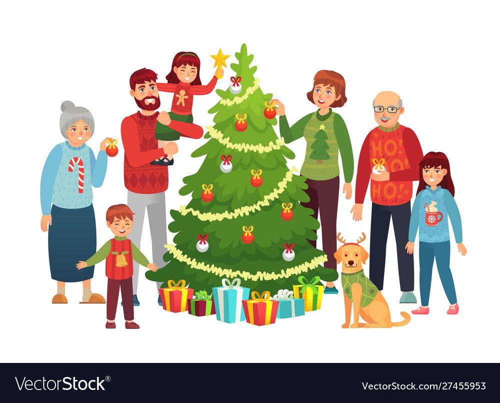 Cartoon Christmas Family Portrait Xmas Tree Vector Image On Vectorstock Family Cartoon Christmas Cartoons Family Christmas