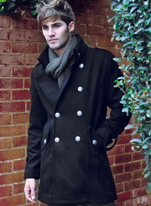 Men's Jacket & Coat - Jackets Military Style long wool coat silver ...