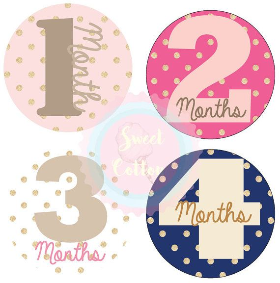 Monthly Stickers Baby Girl Month Stickers by SweetCottonInc