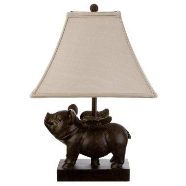 Bronze Flying Pig Table Lamp With Linen Shade Target Flying Pig Pig Decor Pig