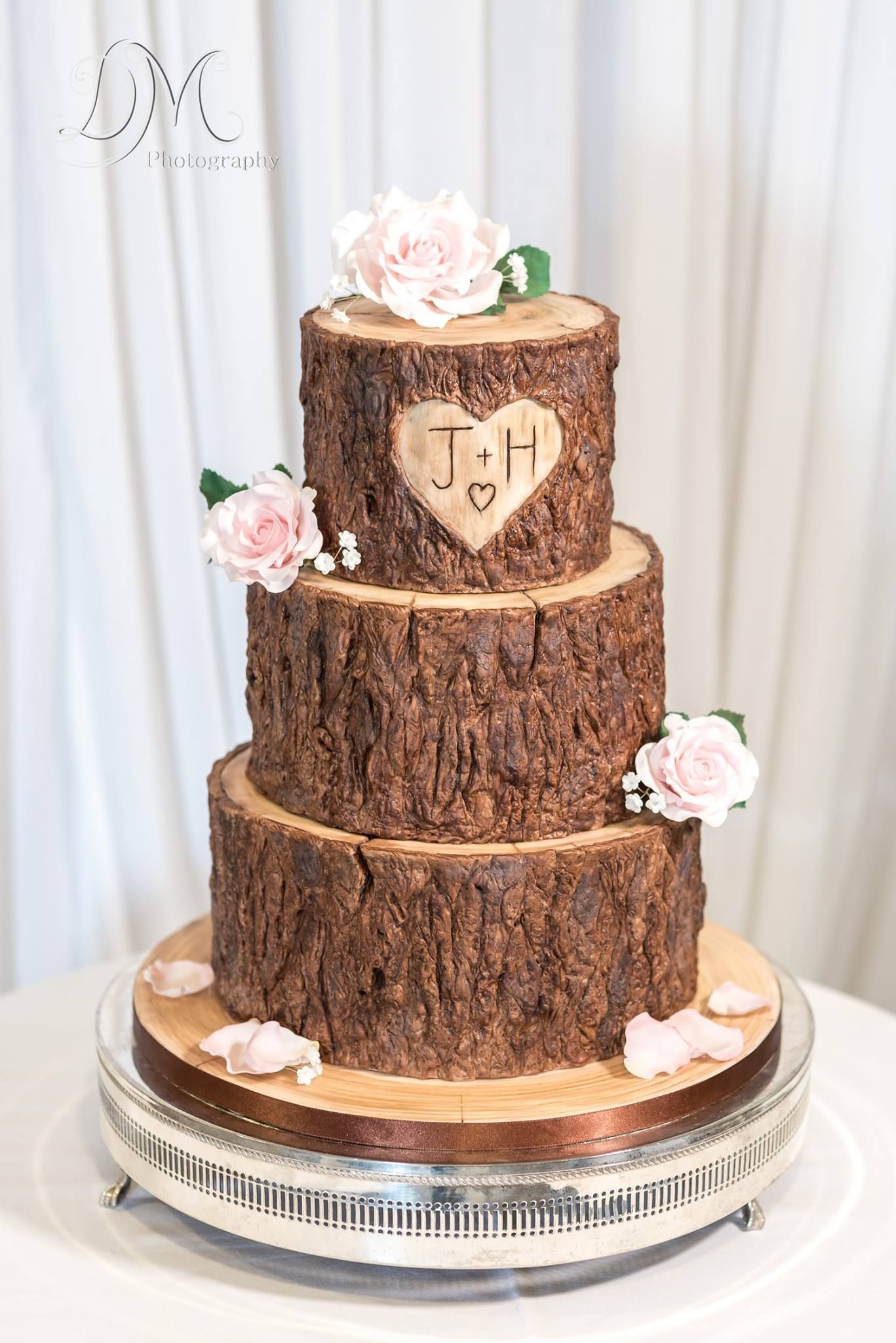 Wood Tree Stump Effect Wedding Cake