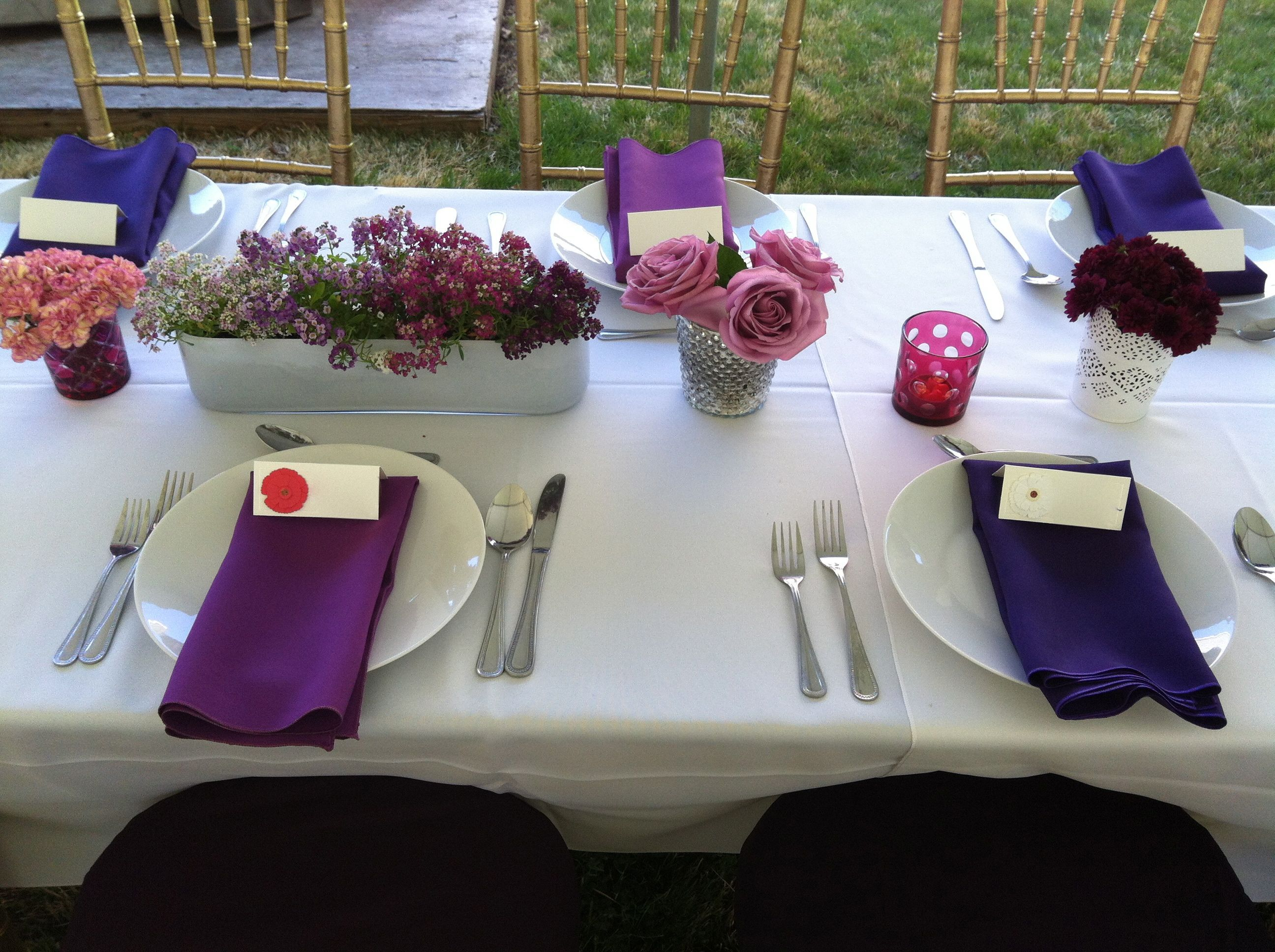 Table Settings From Michaels Martha Stewart Flower Stickers Backyard Engagement Party Purple And