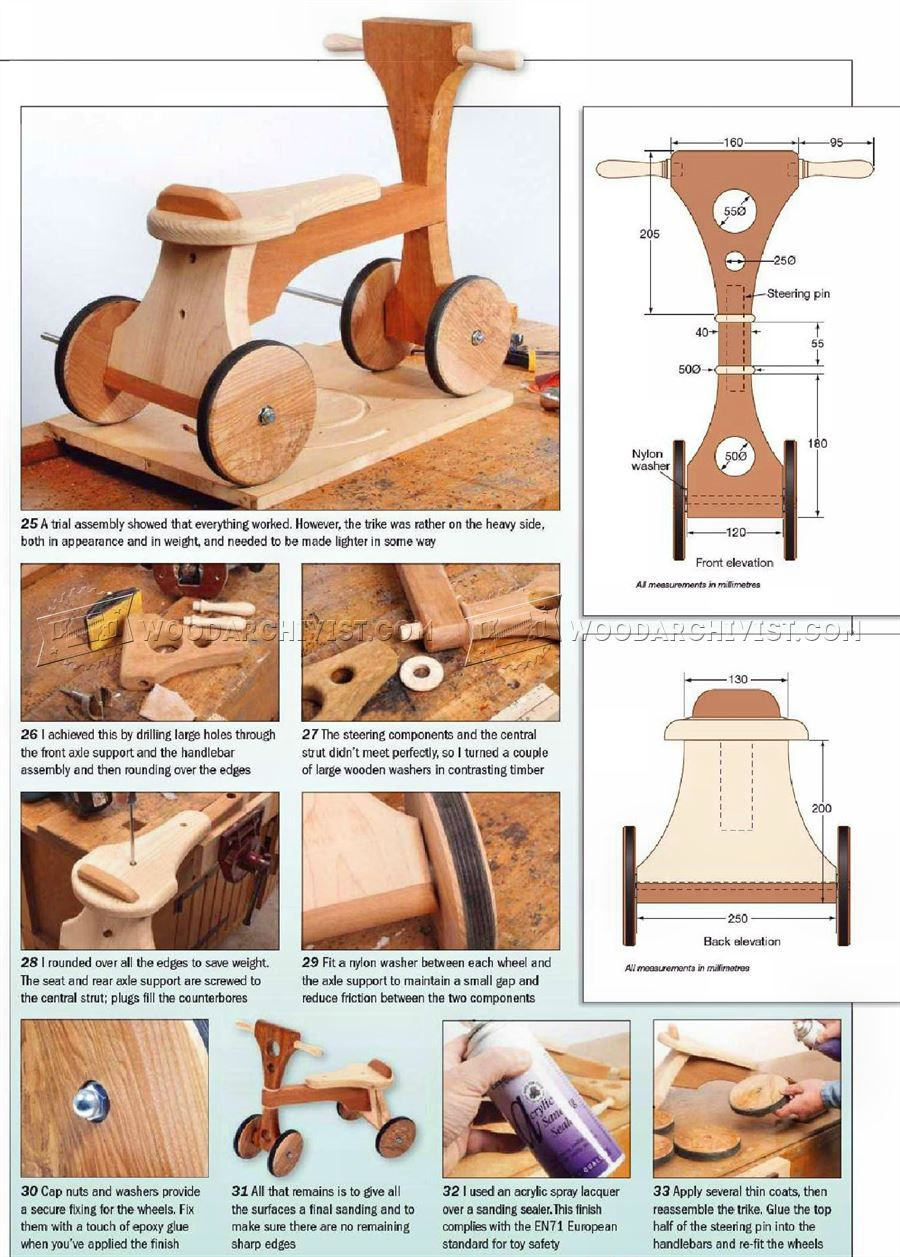 wooden tricycle plans - children's outdoor plans wooden toy