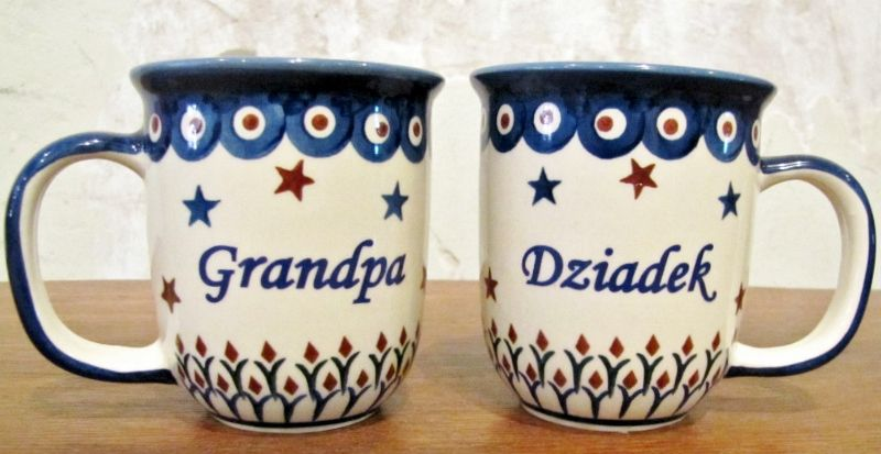 Polish Pottery gigi Mug | Polish Pottery Coffee Mug - Dziadek (Grandpa) Blue