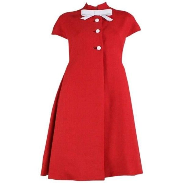 Preowned 1960's Geoffrey Beene Red Linen Babydoll Dress ($695) ❤ liked on Polyvore featuring dresses, red, red a line dress, short-sleeve maxi dresses, a line dress, long-sleeve babydoll dresses and mock neck dress
