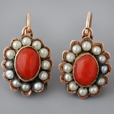 Antique Victorian Coral Earrings Seed Pearls Gold | Mac in