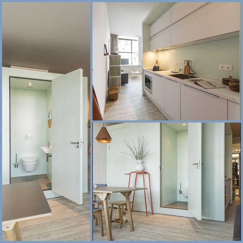 bijzondere prefab badkamer, toilet, berging en keuken in woning, Badkamer