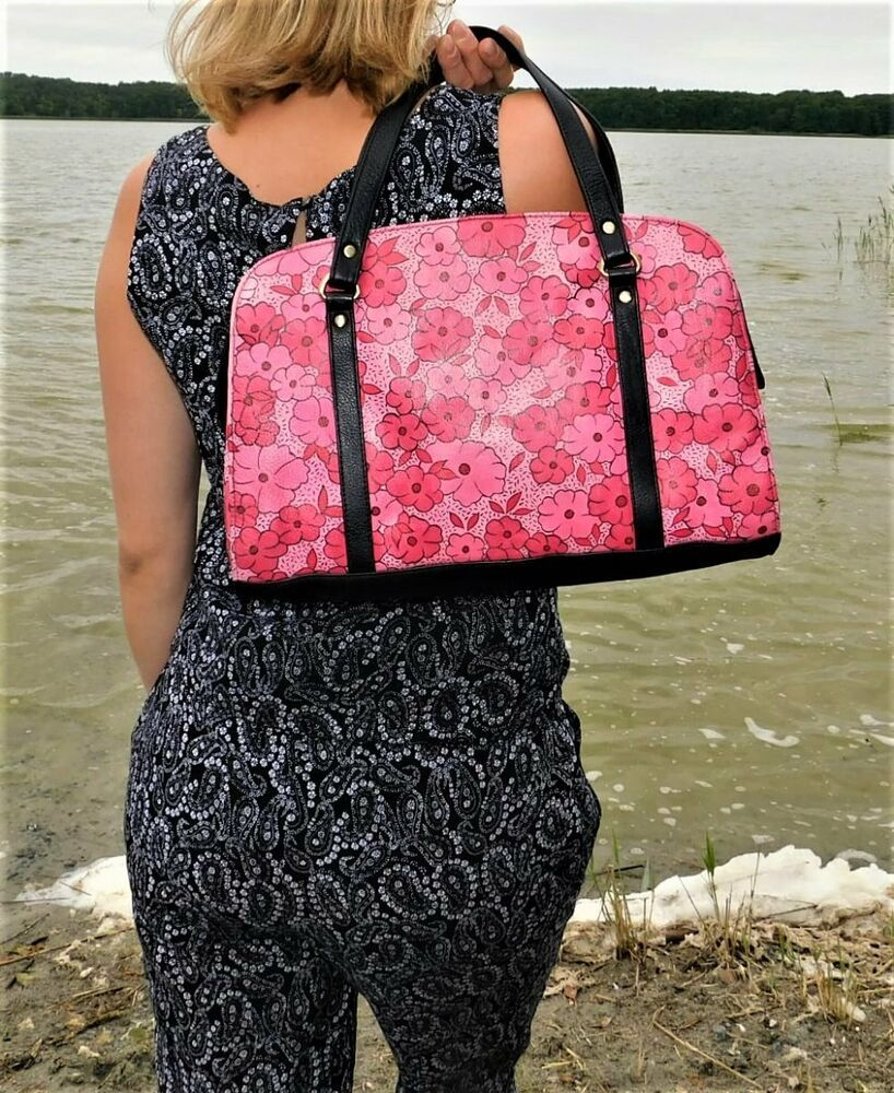 SRIJAN Handbemalte Damen Schulterasche  Leder Handtasche Mehrfarbig Abstrakt NEU