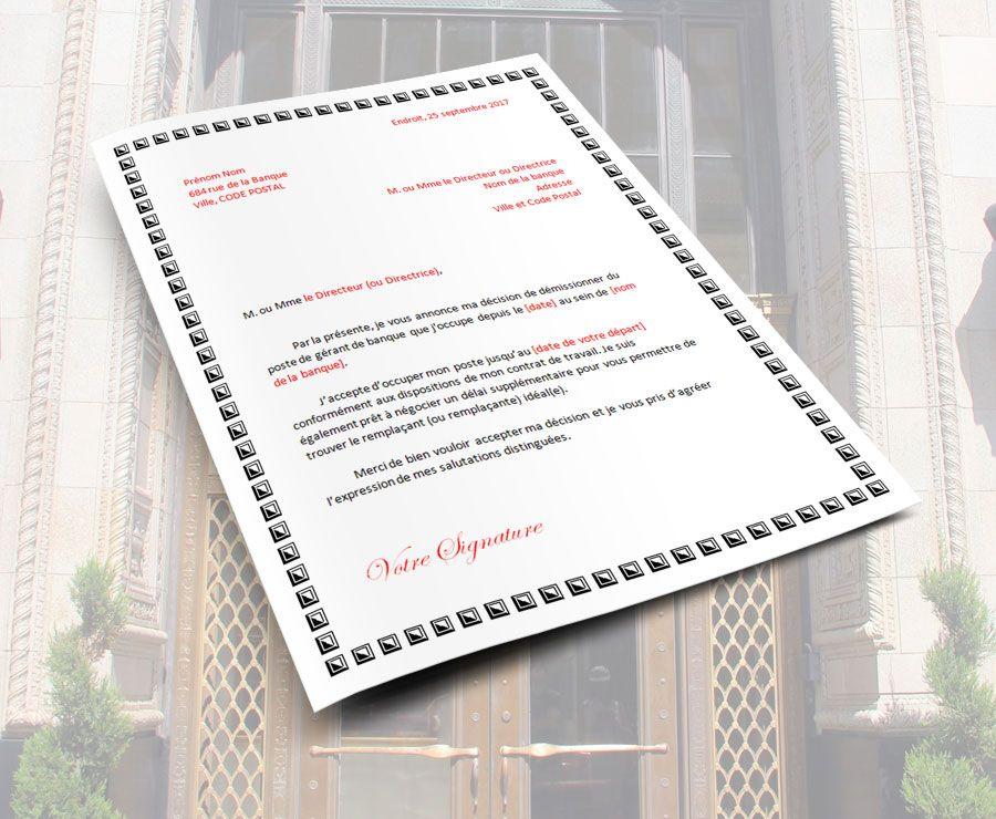 lettre de demission banque banquier devant la banque