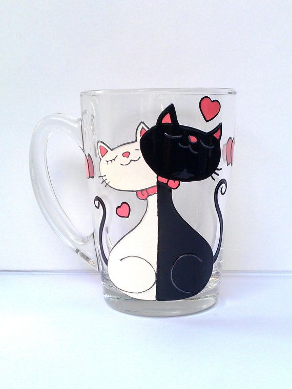 Cat Mug Couples Gift Love Mug Funny Mug. by PaintedglassbySveti #mugcup