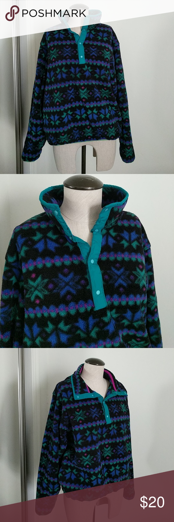 Vtg fleece pullover nordic pattern l fleece sweater pullover and