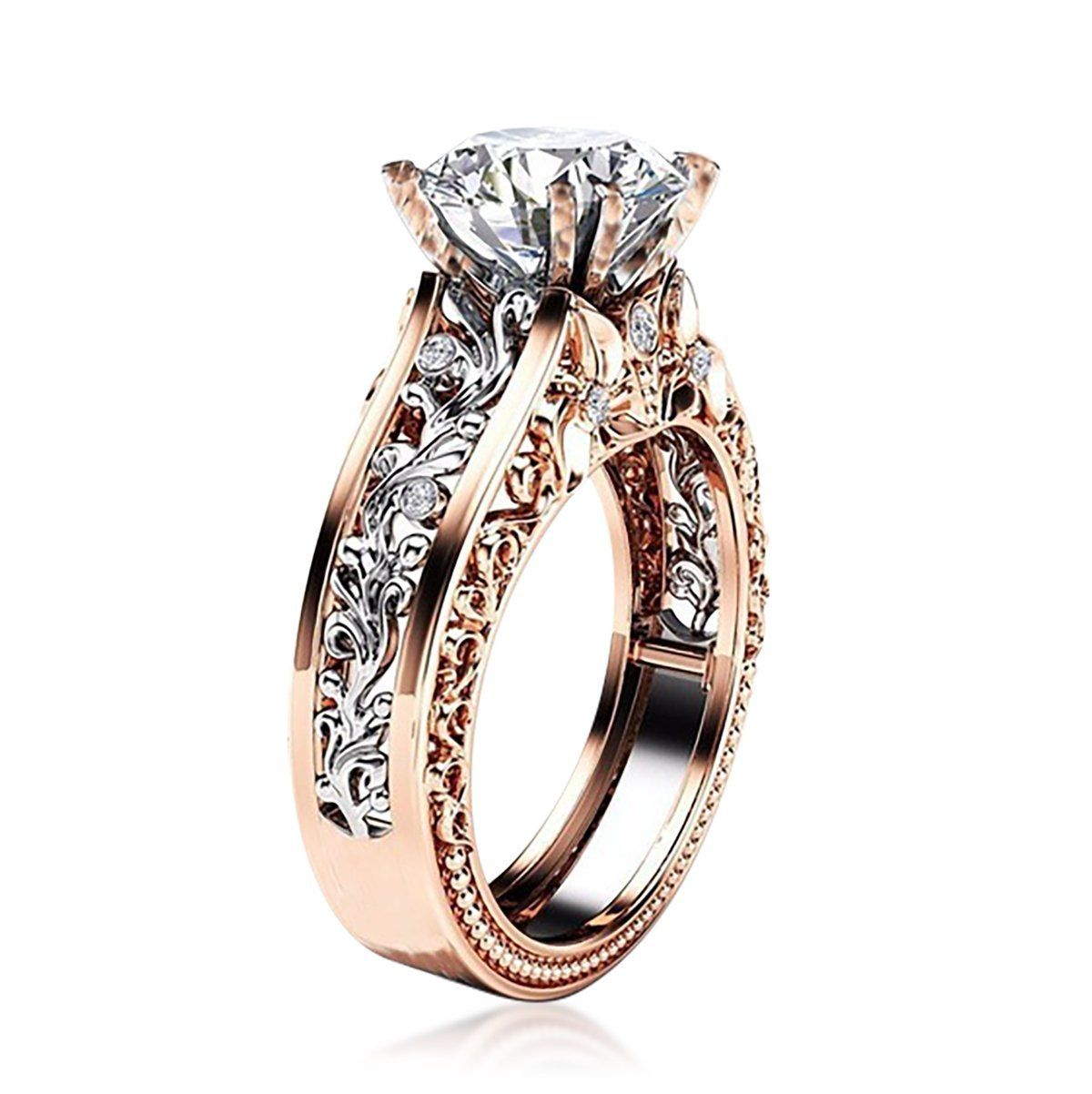 14k Rose Gold Plated Flower Pattern Bridal Decorated Ring Watches Blingjewelry Wholesale Crystalrings Studs Wholesalewatches Buyjewelleryonline: Flower Pattern Wedding Ring At Reisefeber.org