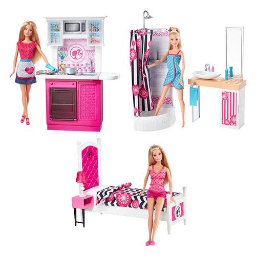 2015 barbie furniture sets in the dollhouse barbie bedroom barbie dolls barbie house. Black Bedroom Furniture Sets. Home Design Ideas