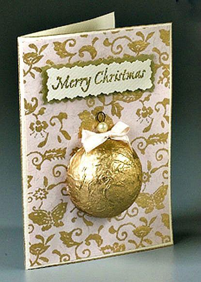 Make a Golden Ornament Christmas Card