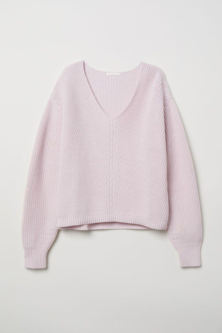 V Neck Cotton Sweater Light Pink Ladies H M Us 5 Sueter De Algodon Atuendos De Moda Para Mujer Moda Estilo