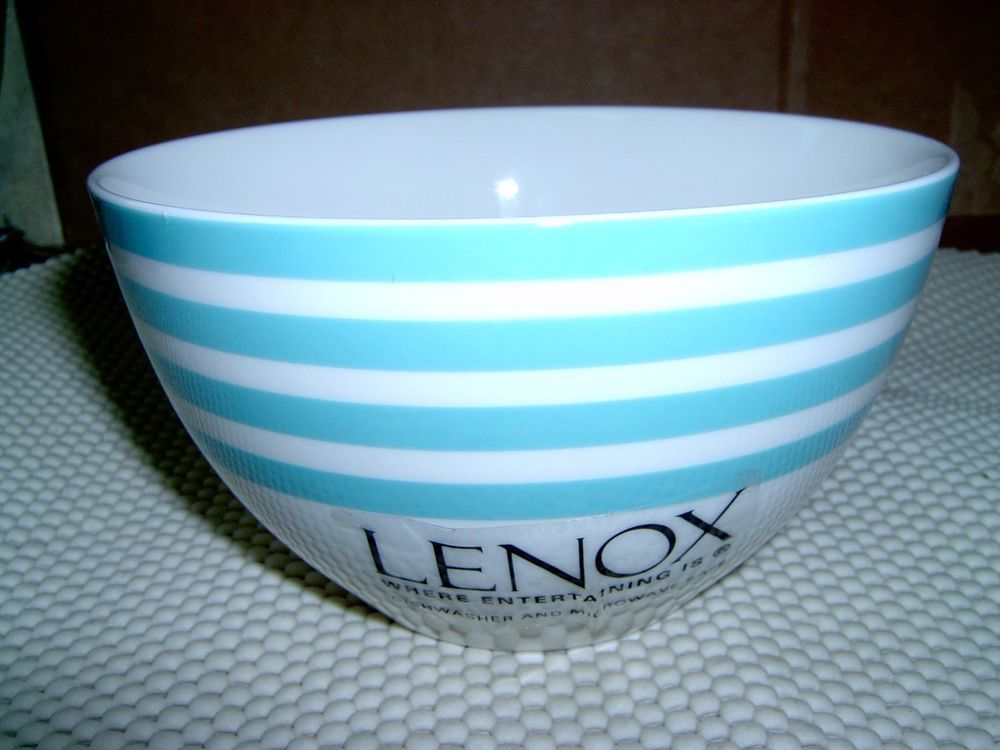 Marvelous Lenox CONTINENTAL DINING AQUA STRIPE All Purpose Bowl Cereal Bowl #Lenox